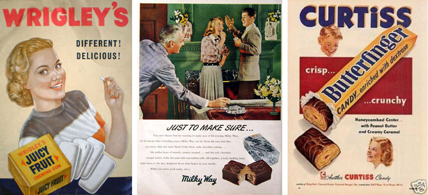 old style candy advertisements